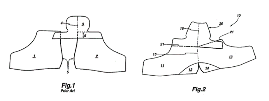 Line drawing of the prior art where two quarters are sewn along the back of the foot. Line drawing of the fabric cut to make the upper of Bauer's patented ice skate. A single piece forms both quarters in the upper.