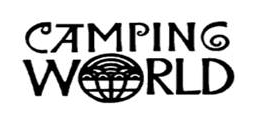 "Black and white image of the stylized words ""CAMPING WORLD"""
