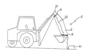 Simple line drawing of a backhoe with a heated sleeve wrapped around the arm.