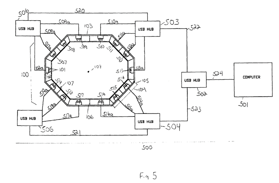 Black and white line drawing of an octagonal-shaped device with multiple lights and cameras surrounding a subject.