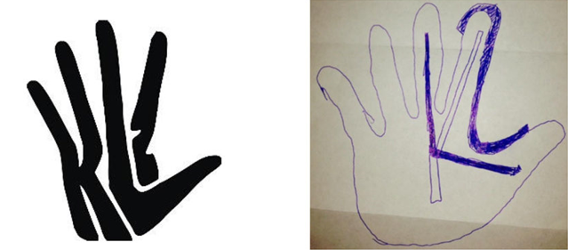 "(Left) Nike's ""claw design"" is a black handprint formed from the letters KL and the number 2. (Right) The Leonard sketch shows an outline of a hand in blue ink with the letter K drawn inside. Part of the outline of the hand is emphasized to show the shape of the number 2."