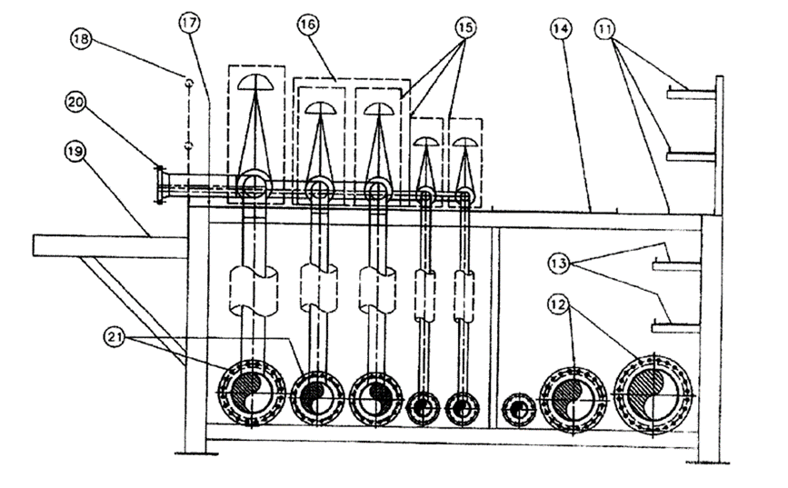 A black and white line drawing showing a platform for installing oil pipes. The platform has an upper level and a lower level.