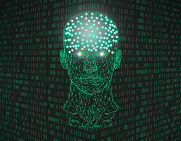 Concept art of AI showing a humanoid head made out of glowing green binary numbers on a black background.
