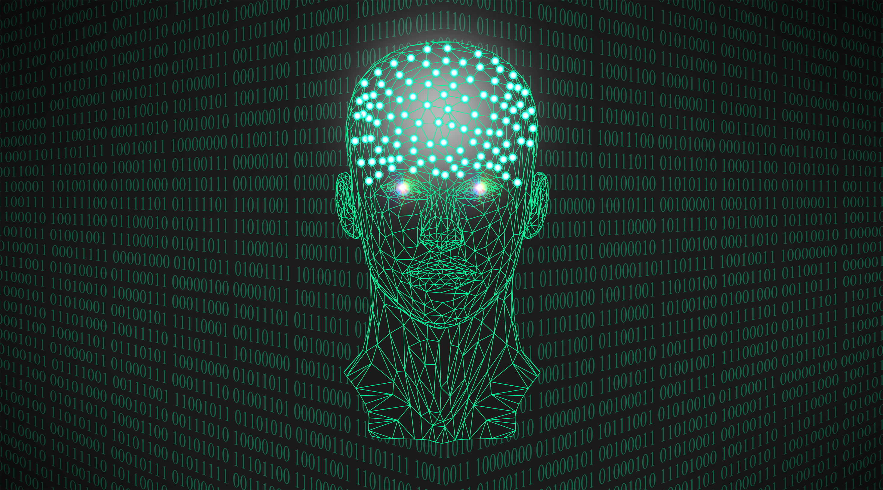 Concept art of a humanoid head made out of glowing green binary numbers on a black background.