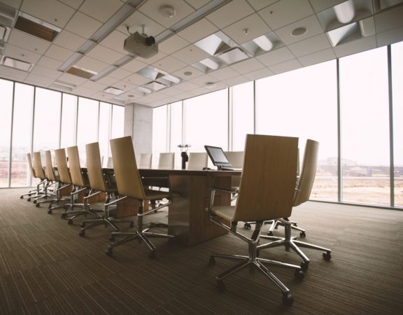 An empty boardroom.