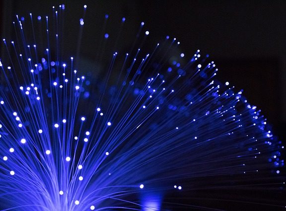 Fibre optic cable photographed in the dark