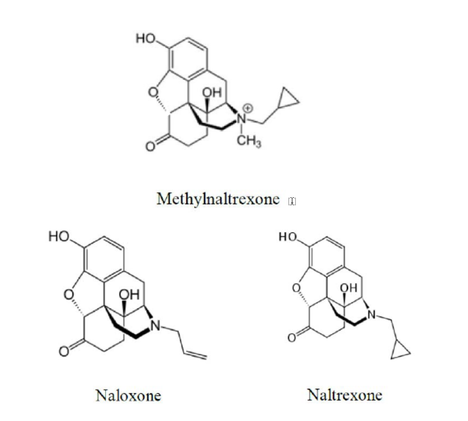Comparison of the chemical structures of methylnaltrexone, naloxone, and naltrexone, three similar anti-opioids.
