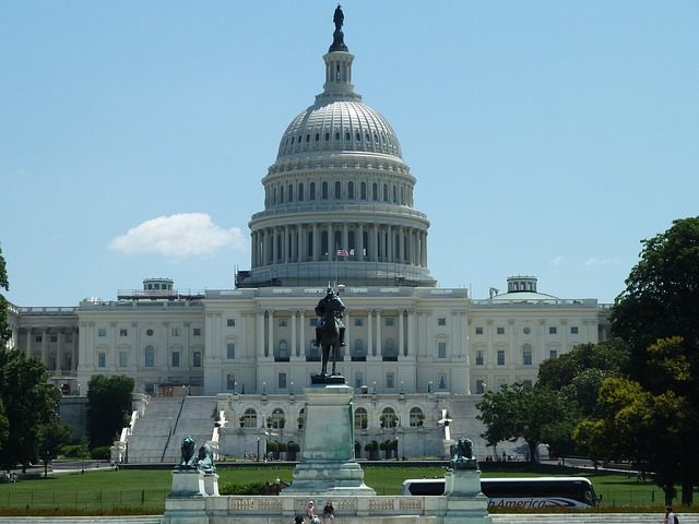Photograph of the United States Capitol Building, home of the US Congress, in Washington DC.
